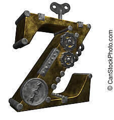 steampunk letter z on white background - 3d illustration