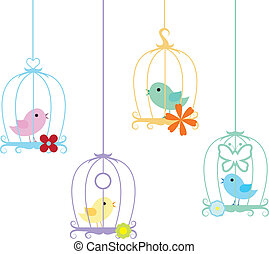 birds and cage background - four cute little colorful birds...