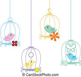 Pássaros, gaiola, fundo