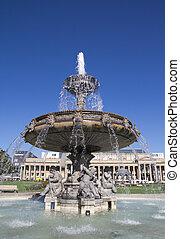 Stuttgart - Fountain at Castle Square in Stuttgart, Germany.