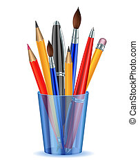 Brushes, pencils and pens in the holder. Vector illustration