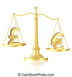 Euro outweighs pound sterling on scales. Vector illustration