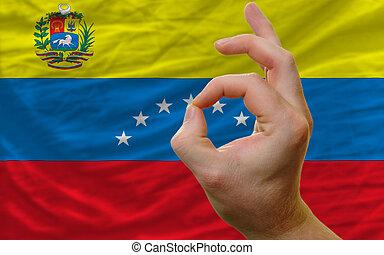 aprobar, nacional, bandera, frente,  venezuela, gesto