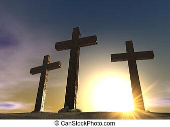 a, crucificação, fim