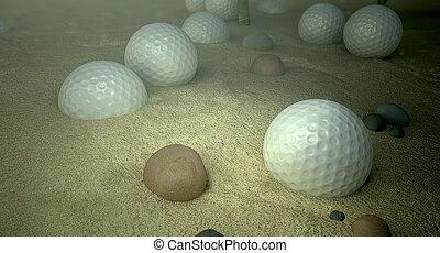 Golf Balls In Water Hazard - An underwater scene of a golf...