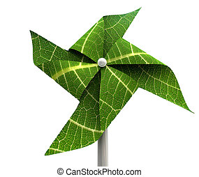 Windmill Green Energy - A green windmill made out of leaves...