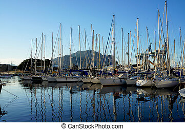 Sailboats in the bay of Palermo