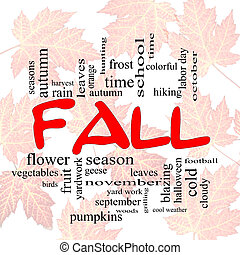 Fall or Autumn Word Cloud Concep on leaves - Fall or Autumn...
