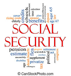 Social Security Word Cloud Concept with great terms such as...