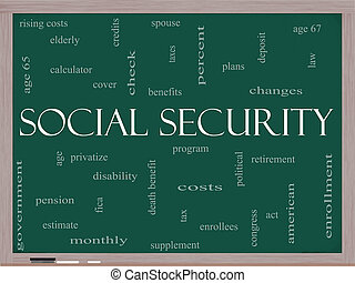 Social Security Word Cloud Concept on a Blackboard with...