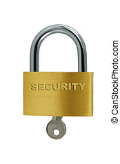 Isolated Brass lock and key on white