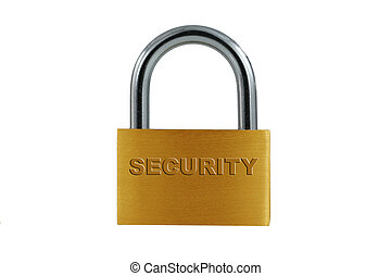 Isolated Brass lock on white - A Isolated Brass lock on...