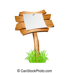 Wooden sign in grass isolated on white background. Vector...