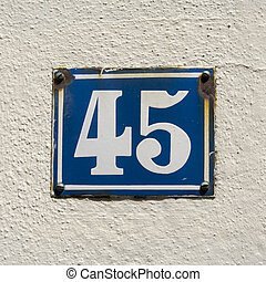 Number 45 - enameled house number forty five White lettering...