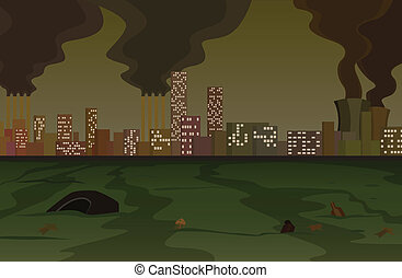 Pollution - Scene of one dirty, heavily polluted city.