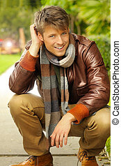 Male model outdoors - Young handsome man with nice smile in...
