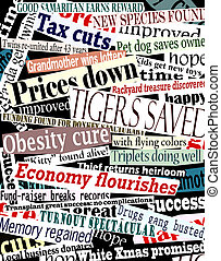 Happy headlines - Vector collage of good news headlines