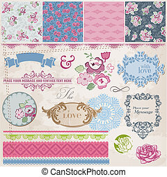 Scrapbook Design Elements - Vintage Flowers and Frames- in...