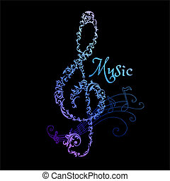 Musical Notes Abstract Background - in vector