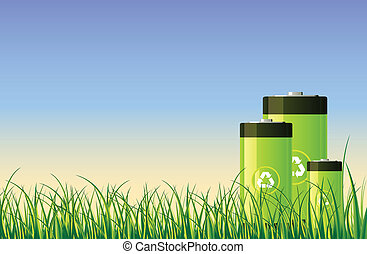 Green Batteries - Green recycleable batteries in the open...