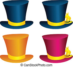 Hats - Vector hat illustration in various colors and...
