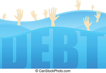 Indebted - Several hands reaching for help while drowning in...