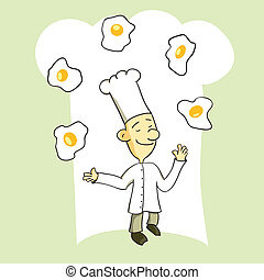 Juggling Chef - Chef juggling several eggs into the air like...