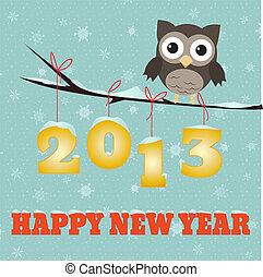 Owl Happy new year 2013 - Little brown owl on branch and...