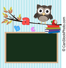 Owl back to school - Little brown owl on branch with...