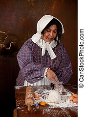 Victorian bread dough kneading - Vintage scene of a colonial...