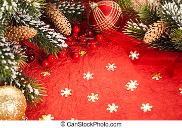 Christmas decorations on red - Border from Christmas tree...