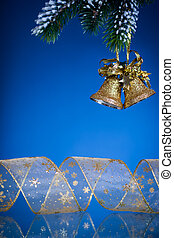 Christmas bells on blue