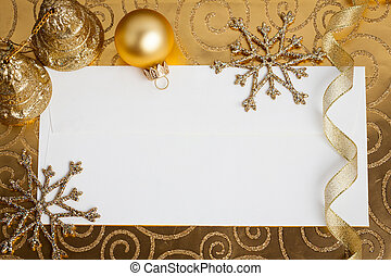 Christmas decorations on gold - Blank paper card framed...