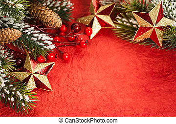 Christmas border - Border from Christmas tree decorations on...