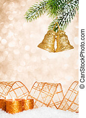 Christmas bells and candles - Christmas tree decorations and...