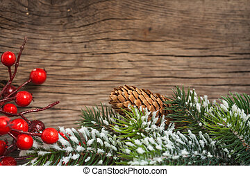 Christmas border - Border from branch of Christmas tree on...
