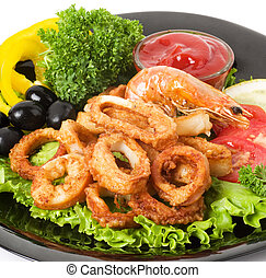 Tasty deep fried squid rings