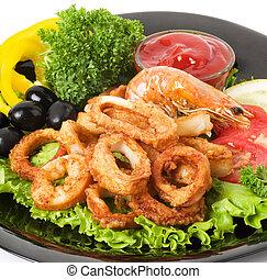Tasty deep fried squid rings