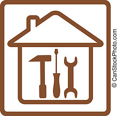 repair symbol with tools and house silhouette with hammer,...