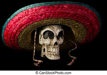 Dia De Los Muertos - Day of The Dead Skull With Sombrero -...