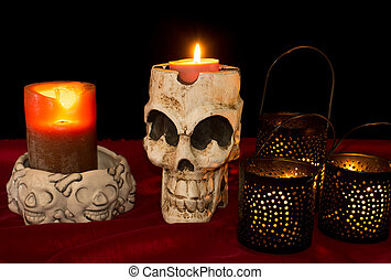 Day of The Dead Skull and Candles - Day of The Dead Dia de...