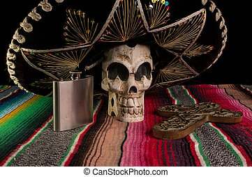 Day of The Dead Skull, Sombrero, Cross, and Tequila Flask -...