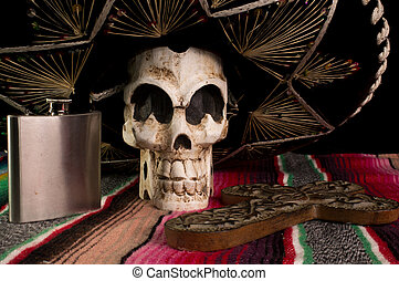 Day of The Dead Skull, Sombrero, Cross, & Tequila Flask -...