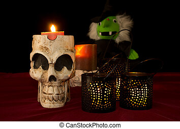 Halloween Decoration Bckground - Halloween skull with...