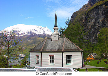 Geiranger church and cemeteries Norway.
