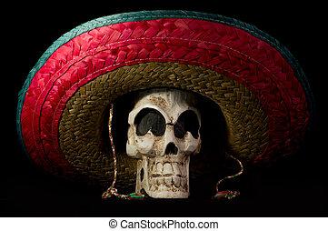 Dia De Los Muertos - Day of The Dead Skull With Sombrero -...