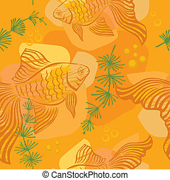 Pattern with gold fish - Seamless pattern with gold fish,...