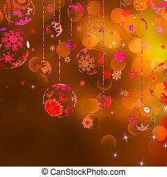 Christmas baubles against bokeh background. EPS 8 vector...