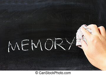 Wiping off memory - Hand wiping off memory word using rug