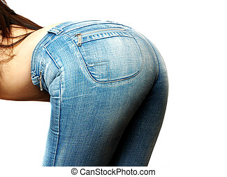 womans jeans -  woman bending over in jeans